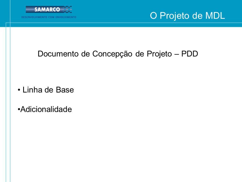 O Projeto de MDL Documento de Concepção de Projeto – PDD Linha de Base