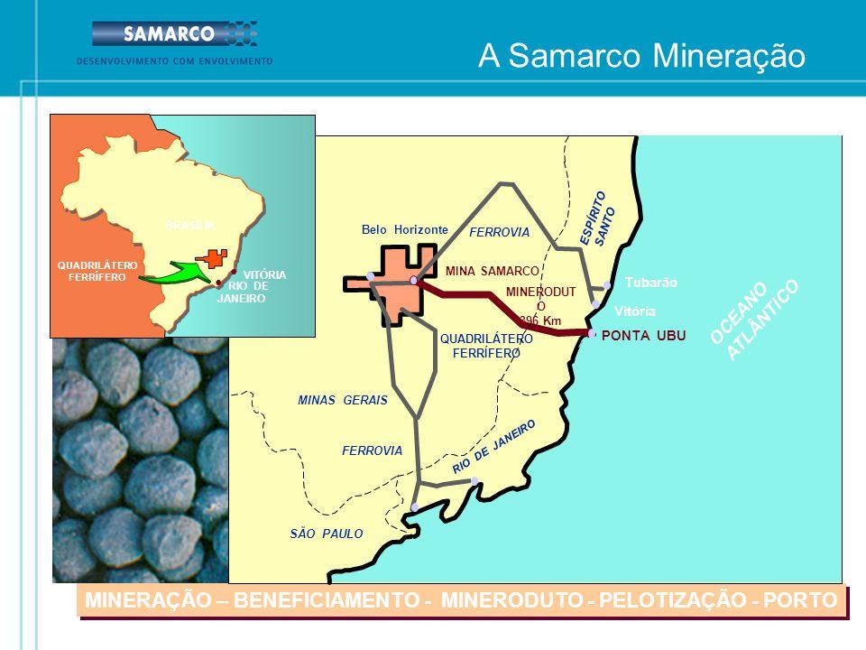 A Samarco MineraçãoFEAM. MINERAÇÃO – BENEFICIAMENTO - MINERODUTO - PELOTIZAÇÃO - PORTO. ESPÍRITO. SANTO.