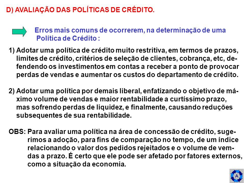 D) AVALIAÇÃO DAS POLÍTICAS DE CRÉDITO.