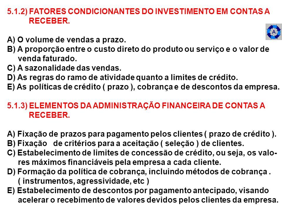 5.1.2) FATORES CONDICIONANTES DO INVESTIMENTO EM CONTAS A