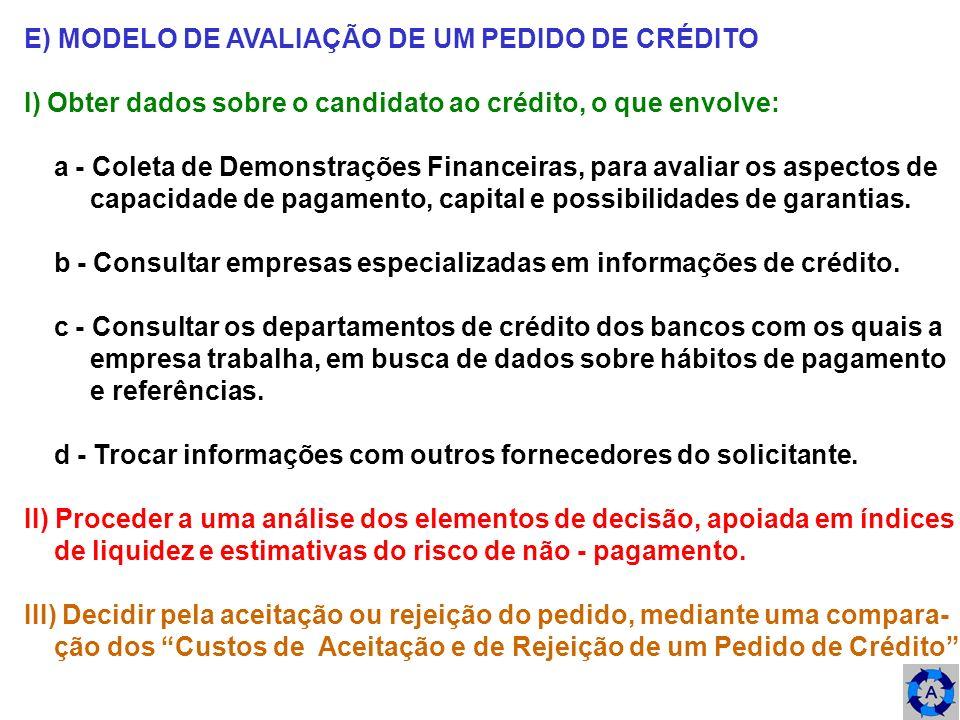 E) MODELO DE AVALIAÇÃO DE UM PEDIDO DE CRÉDITO