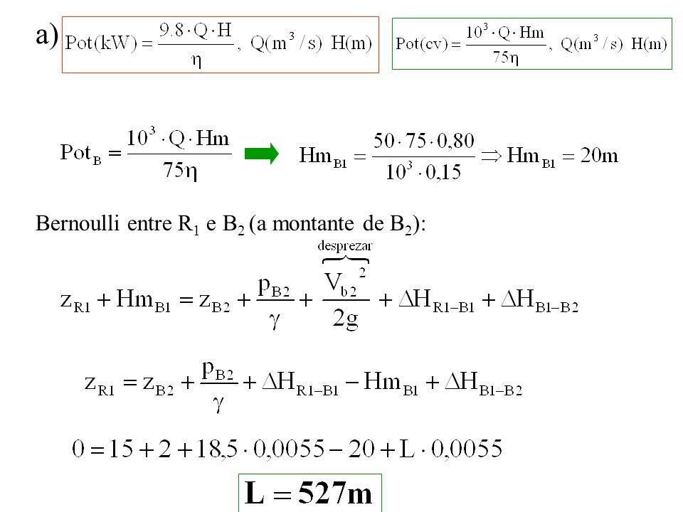 a) Bernoulli entre R1 e B2 (a montante de B2):