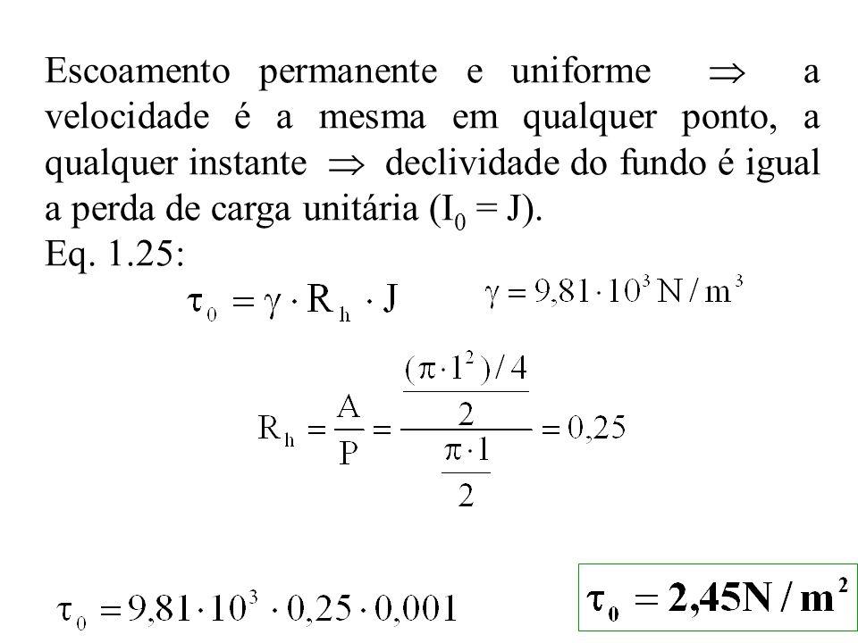 Escoamento permanente e uniforme  a velocidade é a mesma em qualquer ponto, a qualquer instante  declividade do fundo é igual a perda de carga unitária (I0 = J).