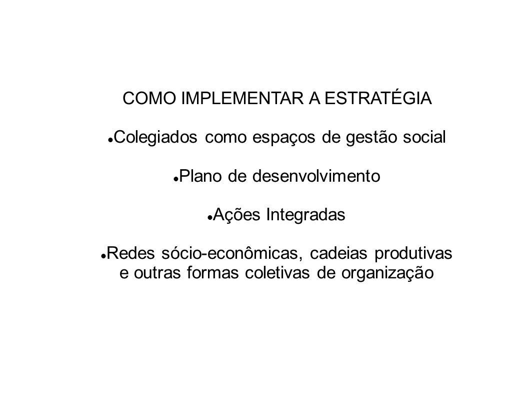 COMO IMPLEMENTAR A ESTRATÉGIA Colegiados como espaços de gestão social
