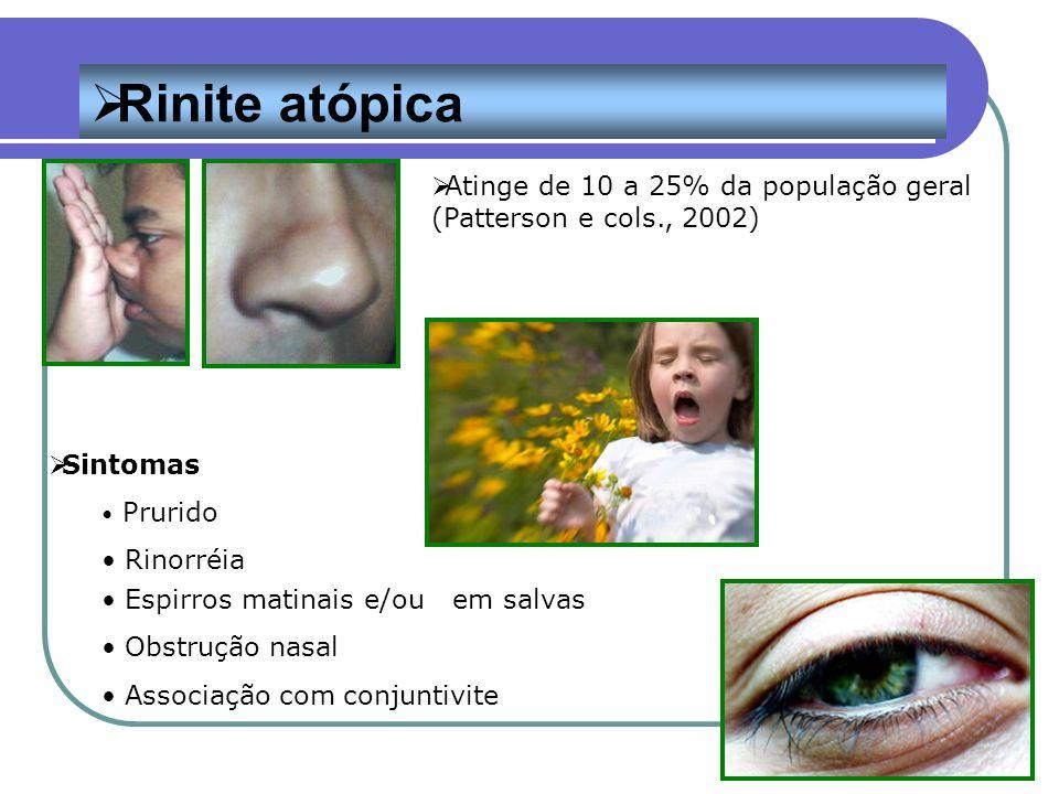 Rinite atópica Atinge de 10 a 25% da população geral (Patterson e cols., 2002) Sintomas. Prurido.