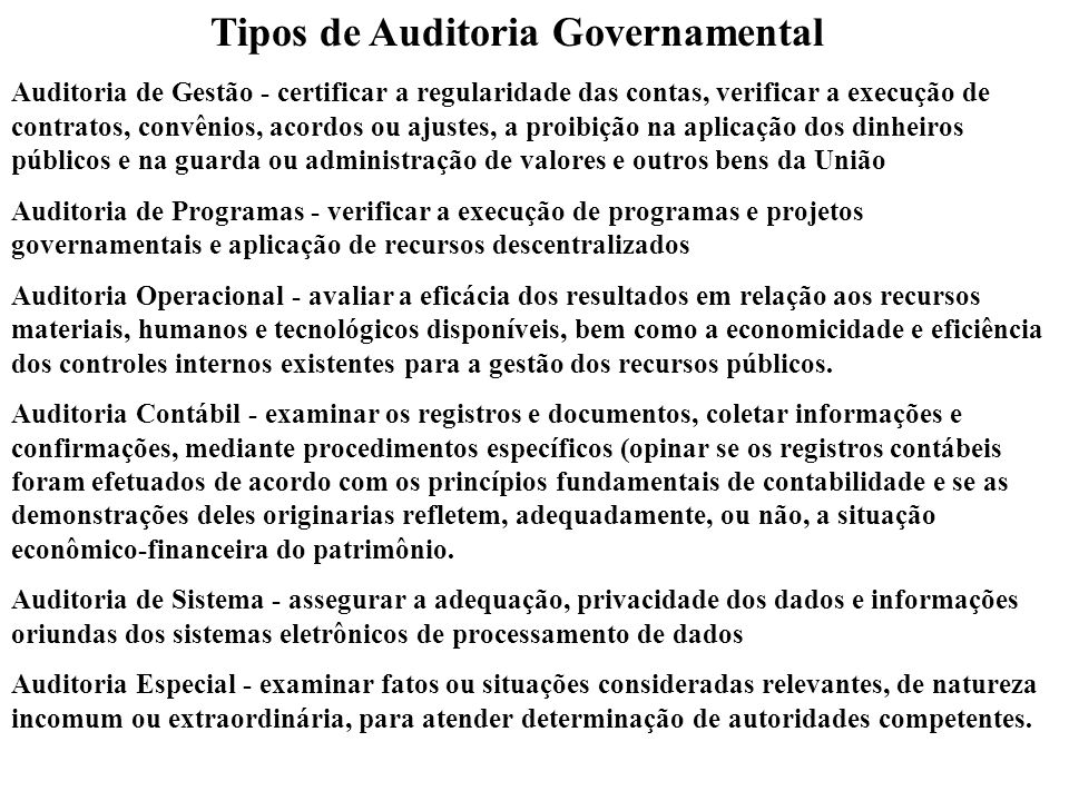 Tipos de Auditoria Governamental