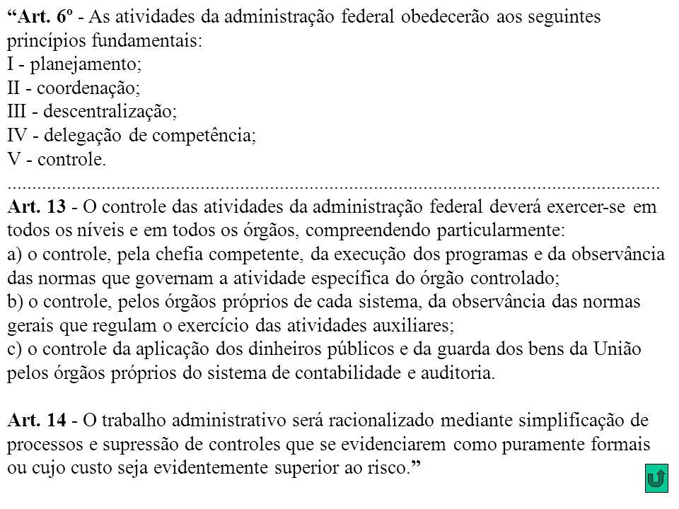 Art. 6º - As atividades da administração federal obedecerão aos seguintes princípios fundamentais: I - planejamento; II - coordenação; III - descentralização; IV - delegação de competência; V - controle.