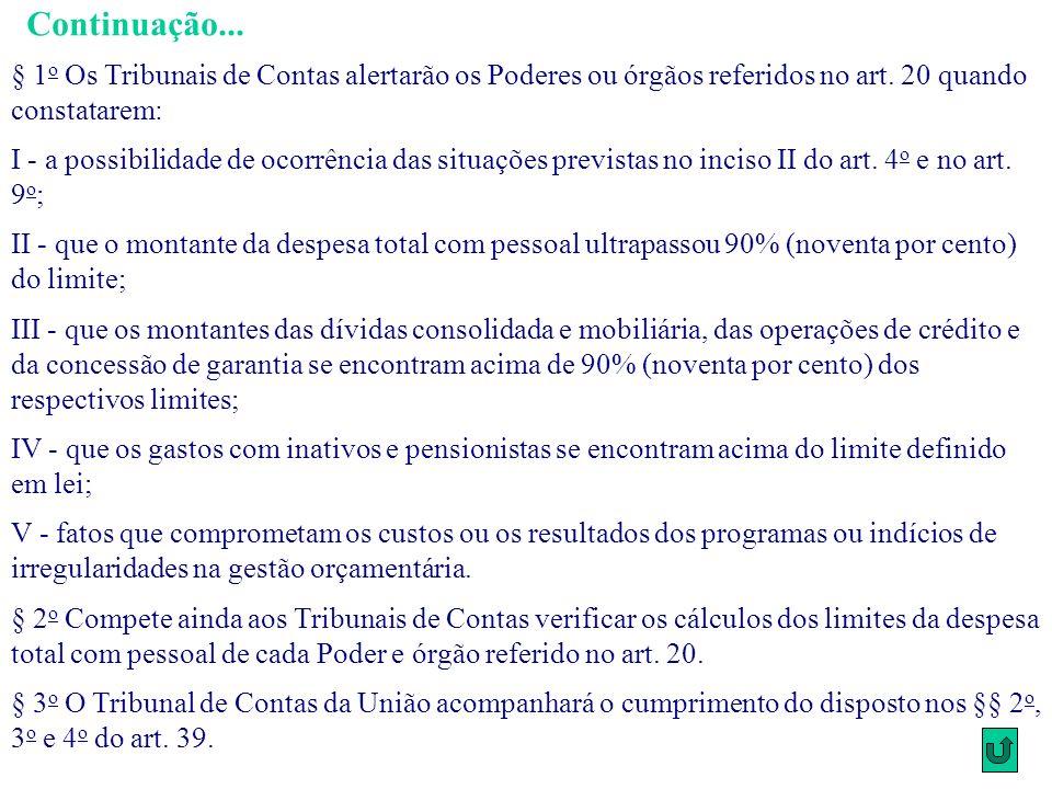 Continuação... § 1o Os Tribunais de Contas alertarão os Poderes ou órgãos referidos no art. 20 quando constatarem: