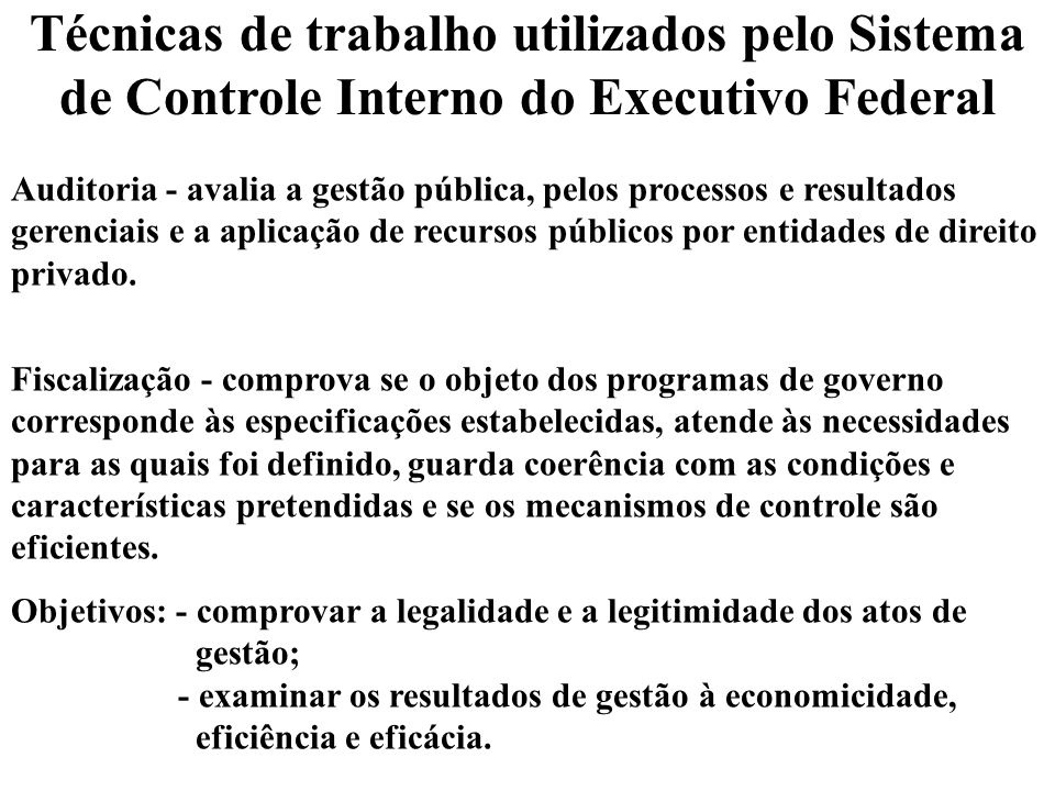 Técnicas de trabalho utilizados pelo Sistema de Controle Interno do Executivo Federal