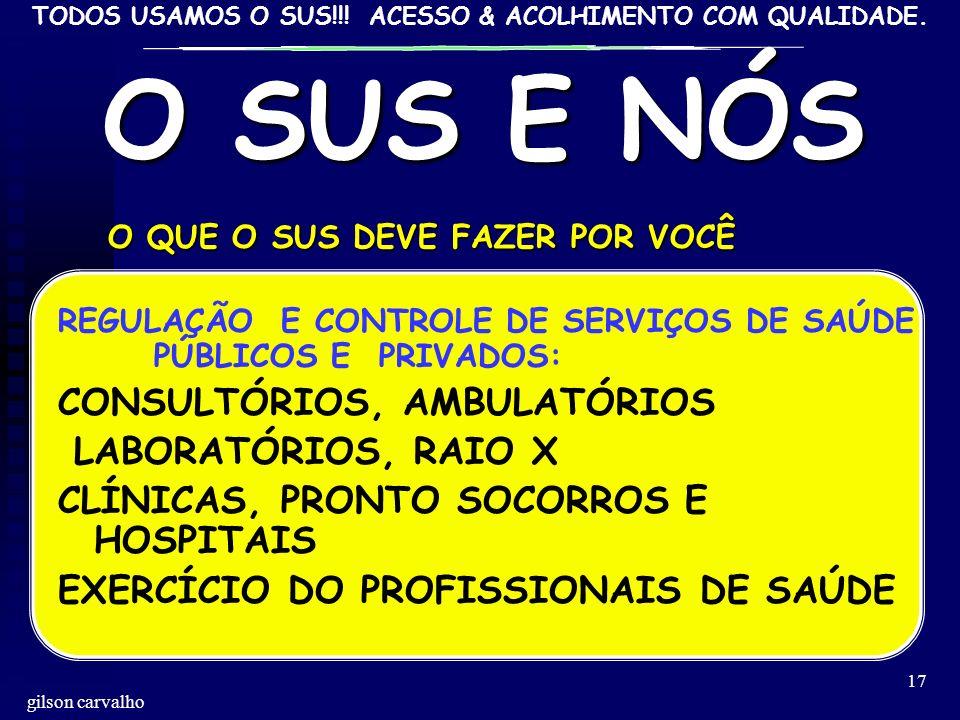 O SUS E NÓS CONSULTÓRIOS, AMBULATÓRIOS LABORATÓRIOS, RAIO X