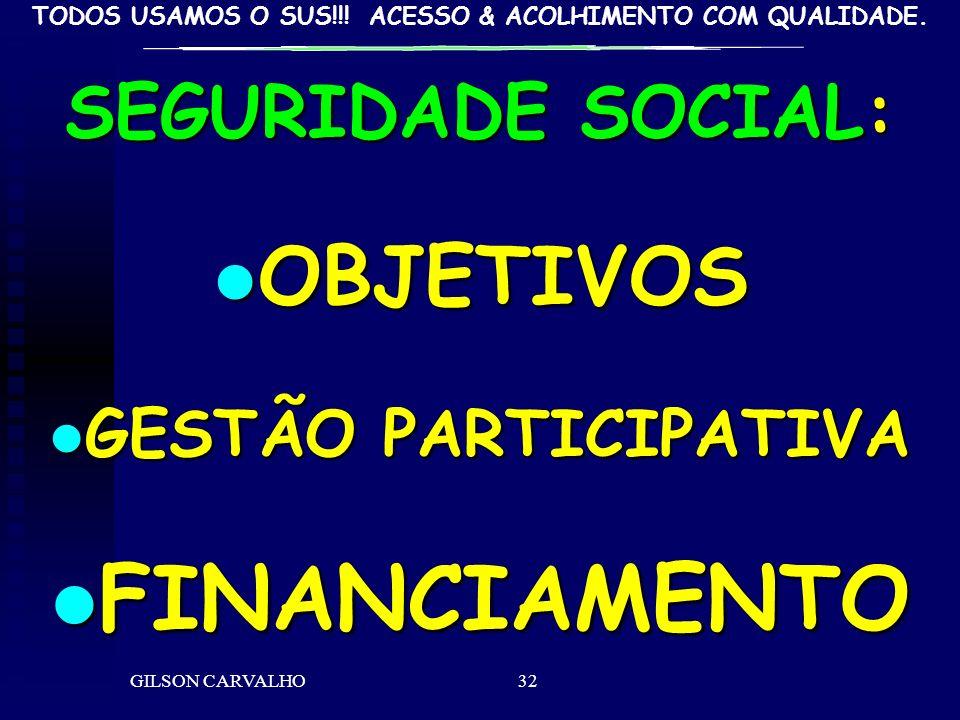 FINANCIAMENTO OBJETIVOS SEGURIDADE SOCIAL: GESTÃO PARTICIPATIVA