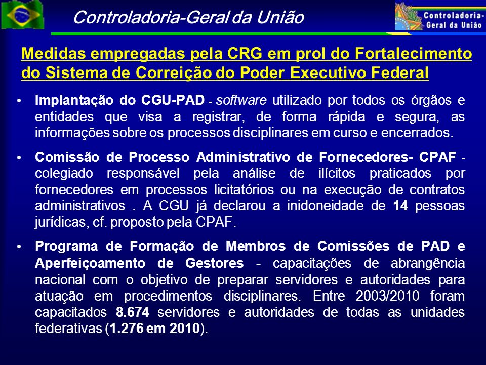 Medidas empregadas pela CRG em prol do Fortalecimento do Sistema de Correição do Poder Executivo Federal