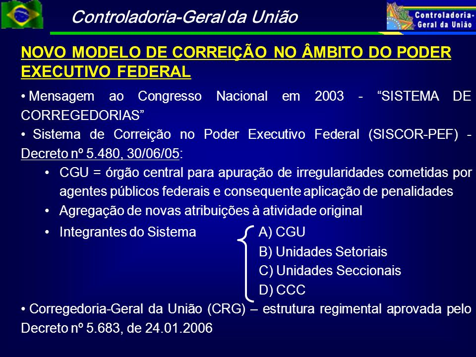 NOVO MODELO DE CORREIÇÃO NO ÂMBITO DO PODER EXECUTIVO FEDERAL