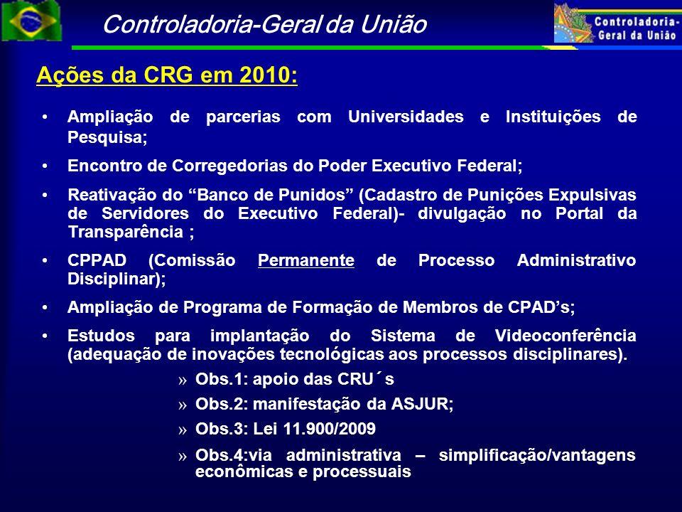 Ações da CRG em 2010: Ampliação de parcerias com Universidades e Instituições de Pesquisa; Encontro de Corregedorias do Poder Executivo Federal;