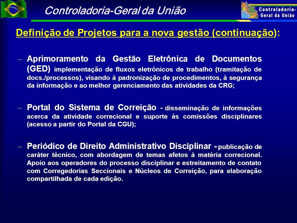 Definição de Projetos para a nova gestão (continuação):