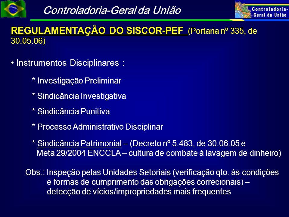 REGULAMENTAÇÃO DO SISCOR-PEF (Portaria nº 335, de 30.05.06)