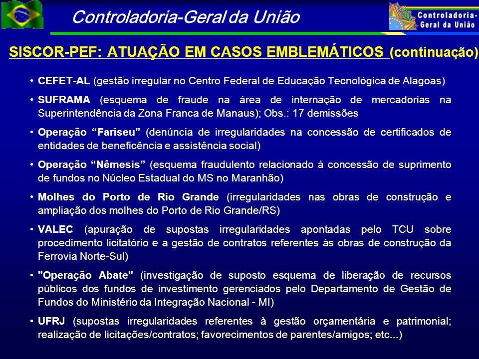 SISCOR-PEF: ATUAÇÃO EM CASOS EMBLEMÁTICOS (continuação)