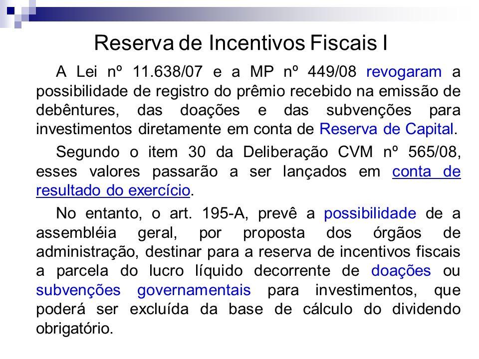 Reserva de Incentivos Fiscais I