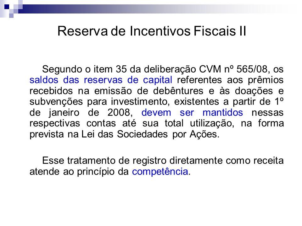 Reserva de Incentivos Fiscais II