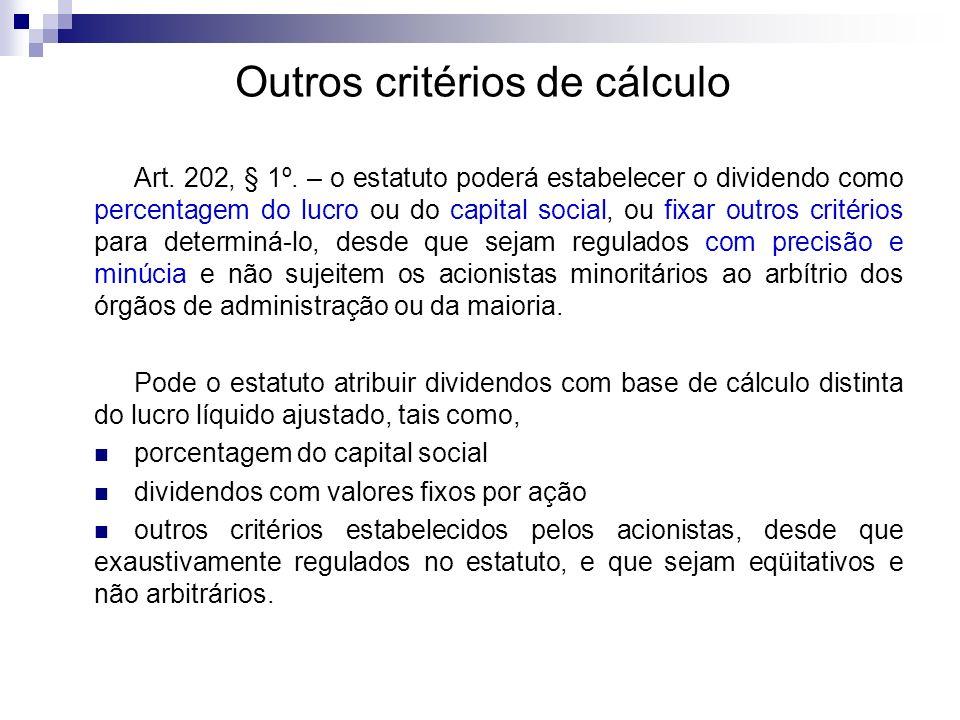 Outros critérios de cálculo