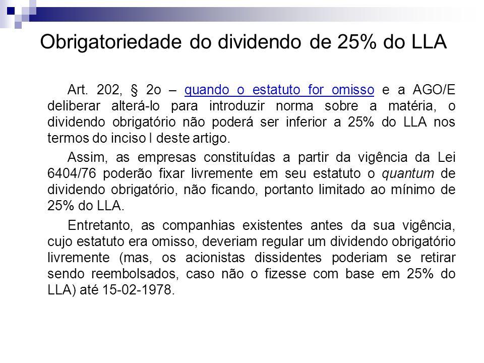 Obrigatoriedade do dividendo de 25% do LLA