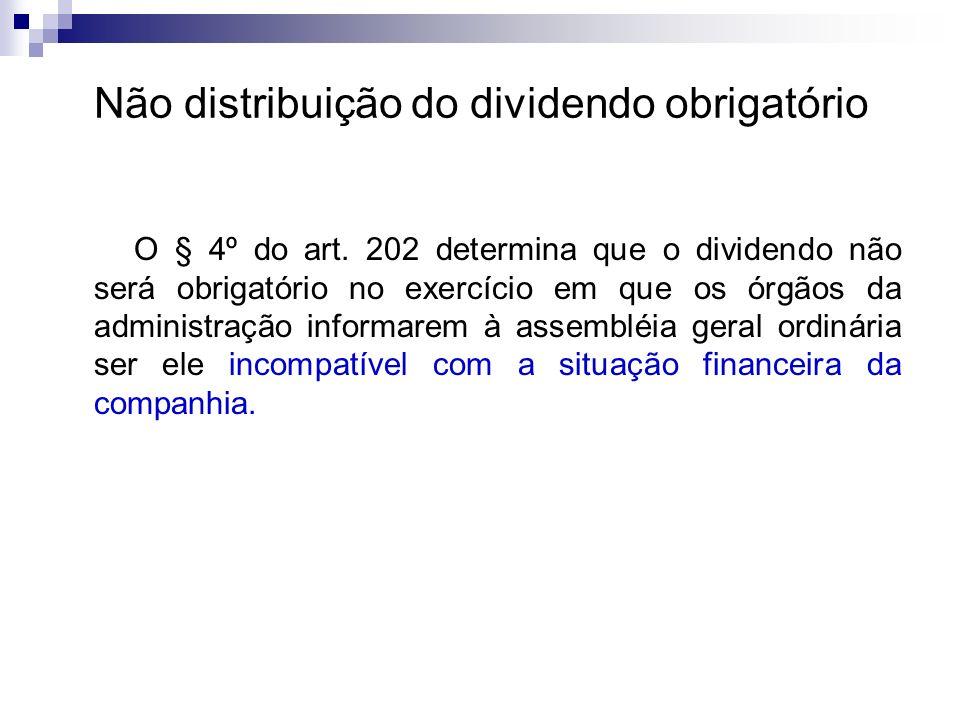 Não distribuição do dividendo obrigatório