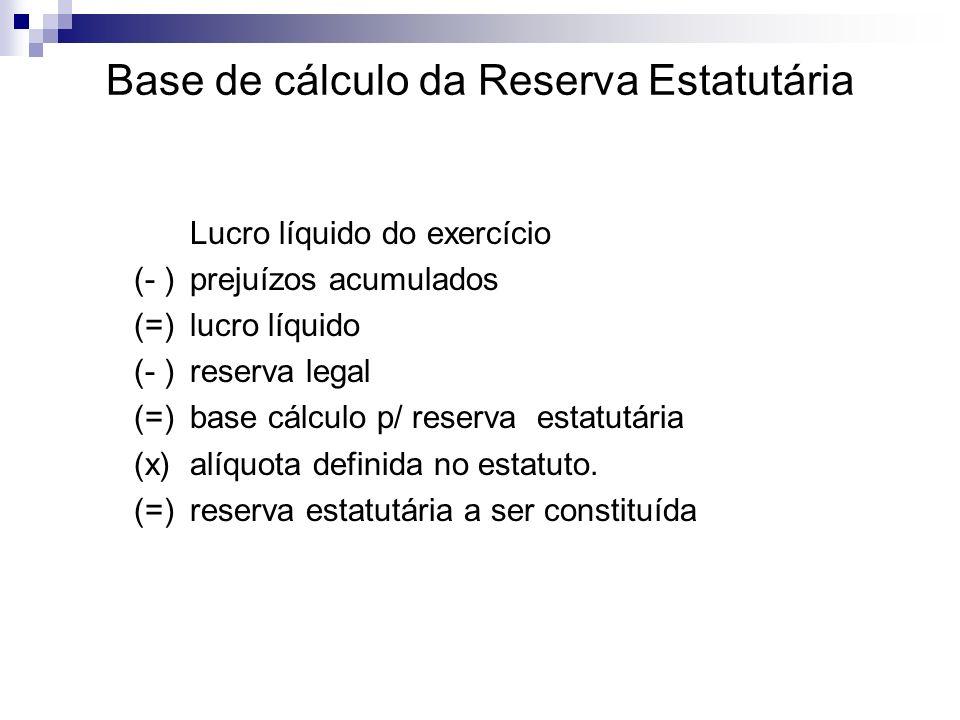 Base de cálculo da Reserva Estatutária