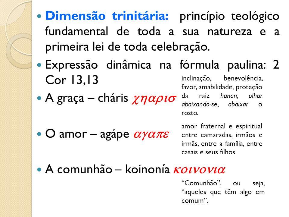 Expressão dinâmica na fórmula paulina: 2 Cor 13,13
