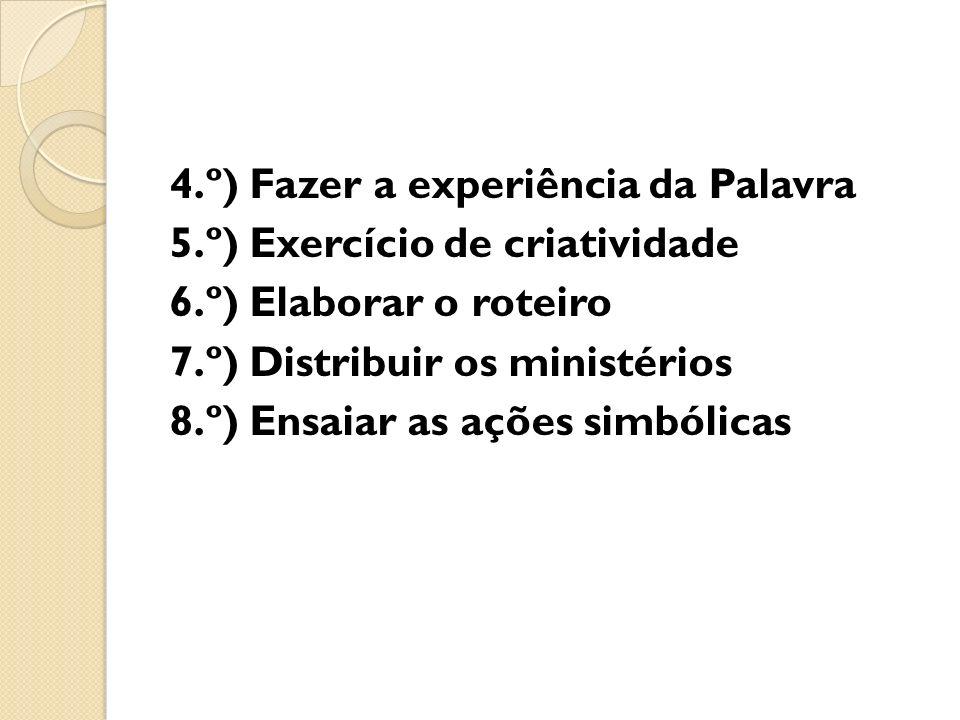 4. º) Fazer a experiência da Palavra 5. º) Exercício de criatividade 6