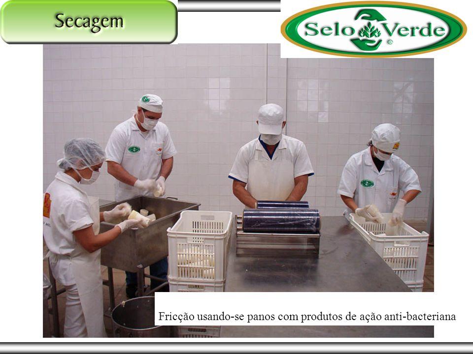 Fricção usando-se panos com produtos de ação anti-bacteriana