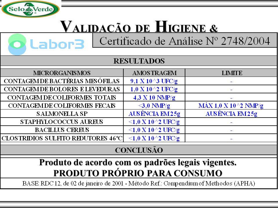 VALIDAÇÃO DE HIGIENE & QUALIDADE