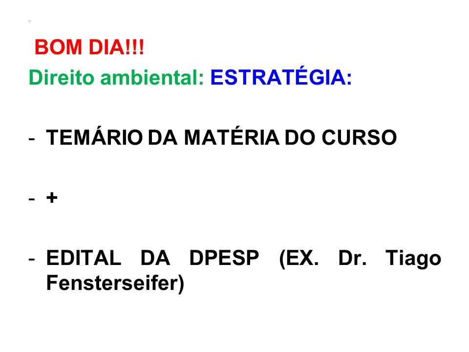 Direito ambiental: ESTRATÉGIA: TEMÁRIO DA MATÉRIA DO CURSO +