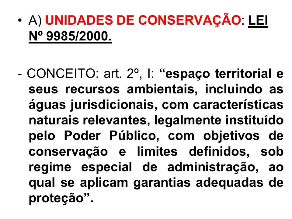 . A) UNIDADES DE CONSERVAÇÃO: LEI Nº 9985/2000.
