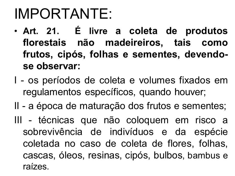 IMPORTANTE: Art. 21. É livre a coleta de produtos florestais não madeireiros, tais como frutos, cipós, folhas e sementes, devendo-se observar: