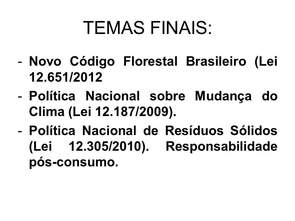TEMAS FINAIS: Novo Código Florestal Brasileiro (Lei 12.651/2012