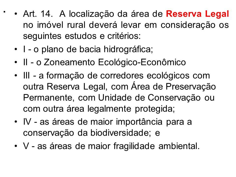 . Art. 14. A localização da área de Reserva Legal no imóvel rural deverá levar em consideração os seguintes estudos e critérios: