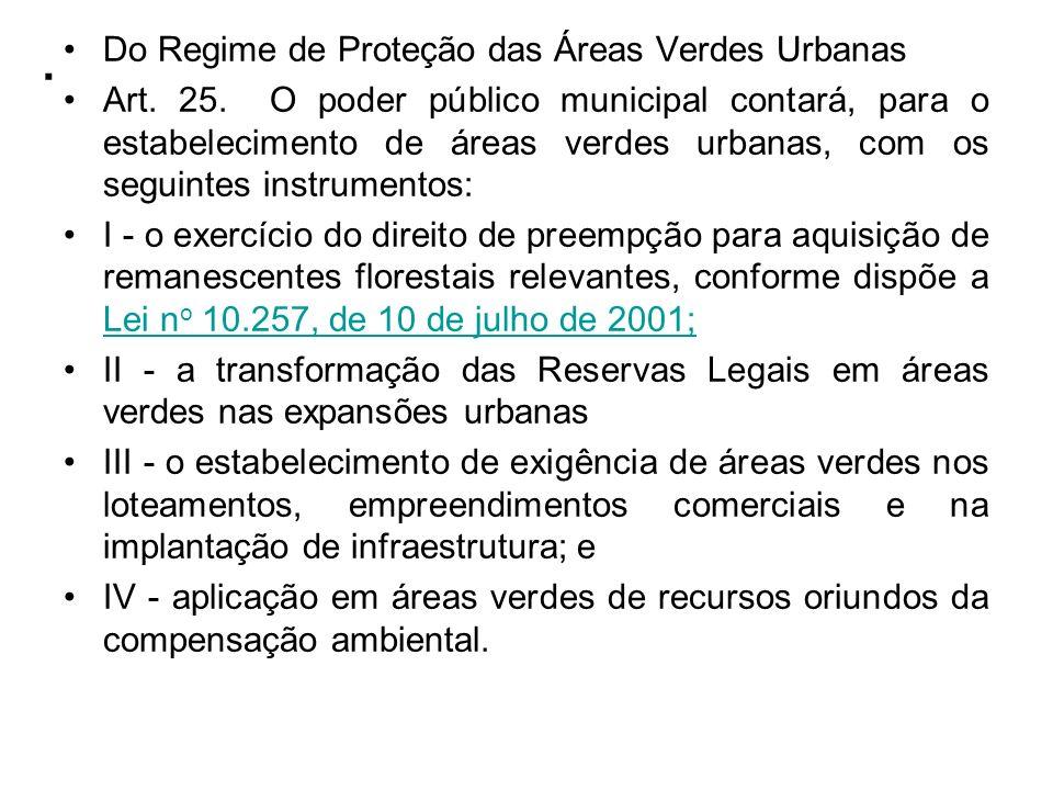 . Do Regime de Proteção das Áreas Verdes Urbanas