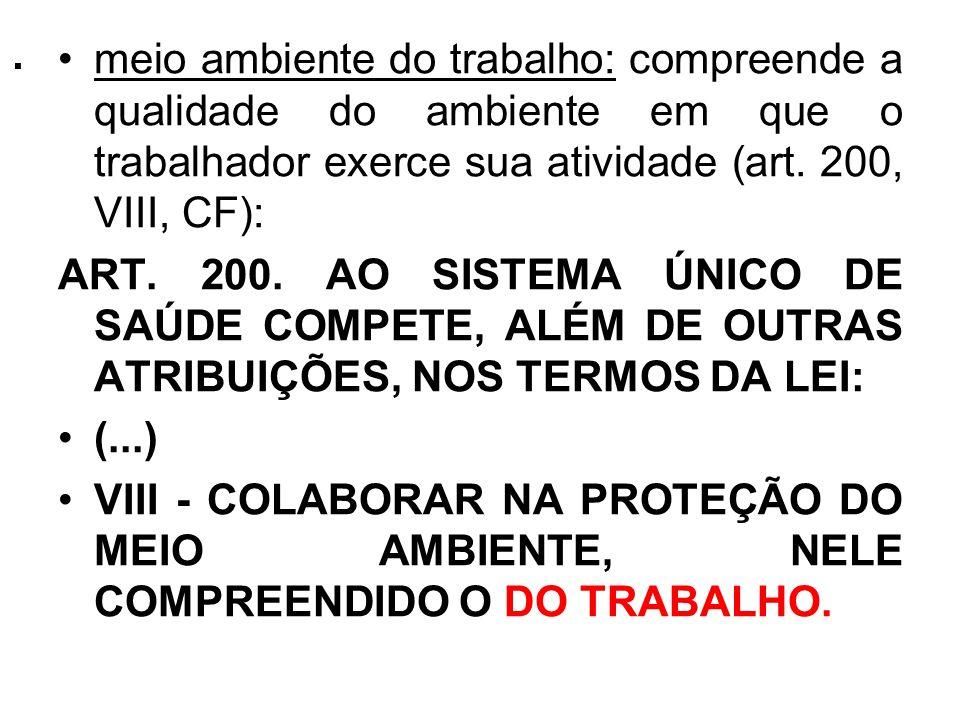 . meio ambiente do trabalho: compreende a qualidade do ambiente em que o trabalhador exerce sua atividade (art. 200, VIII, CF):