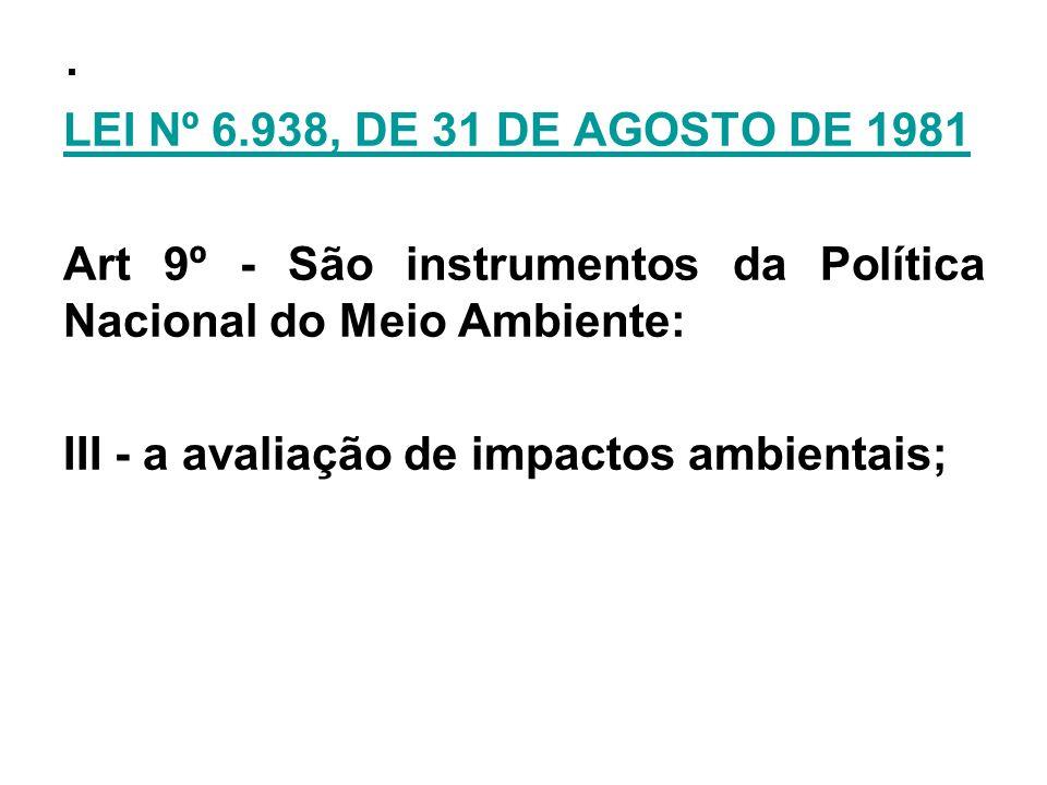 .LEI Nº 6.938, DE 31 DE AGOSTO DE 1981 Art 9º - São instrumentos da Política Nacional do Meio Ambiente: III - a avaliação de impactos ambientais;