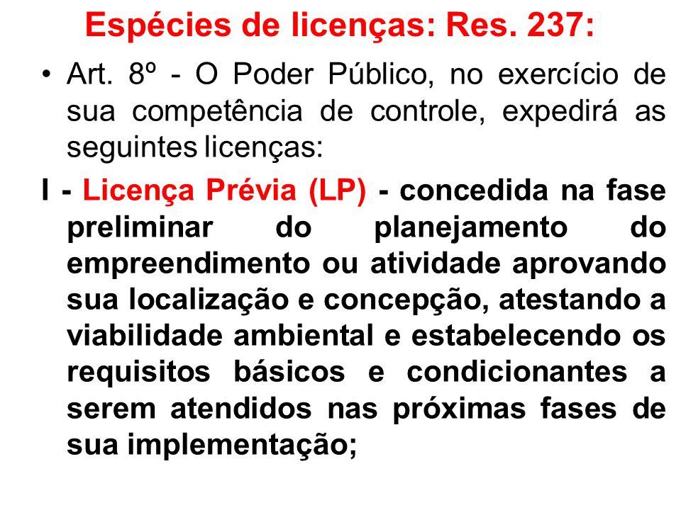 Espécies de licenças: Res. 237: