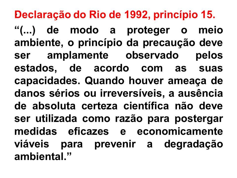 Declaração do Rio de 1992, princípio 15. (