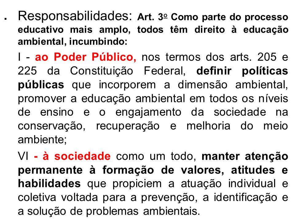 .Responsabilidades: Art. 3o Como parte do processo educativo mais amplo, todos têm direito à educação ambiental, incumbindo: