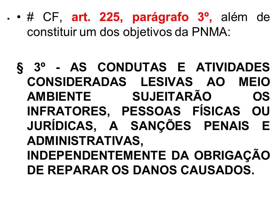 . # CF, art. 225, parágrafo 3º, além de constituir um dos objetivos da PNMA: