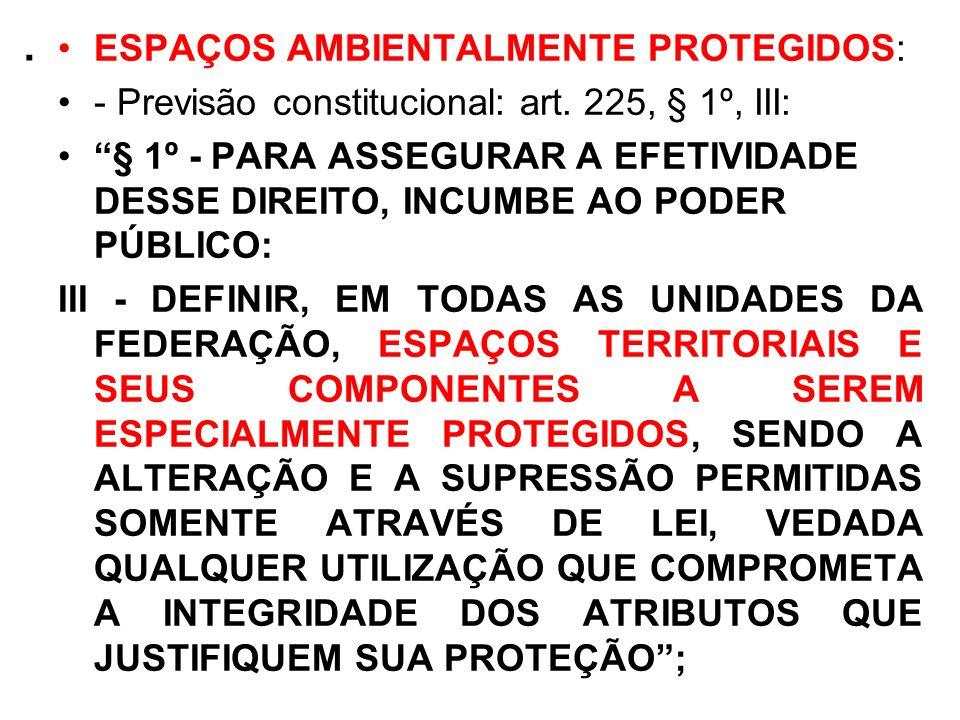 . ESPAÇOS AMBIENTALMENTE PROTEGIDOS: