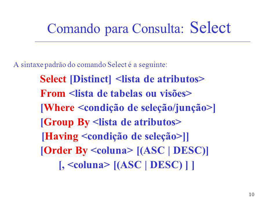 Comando para Consulta: Select