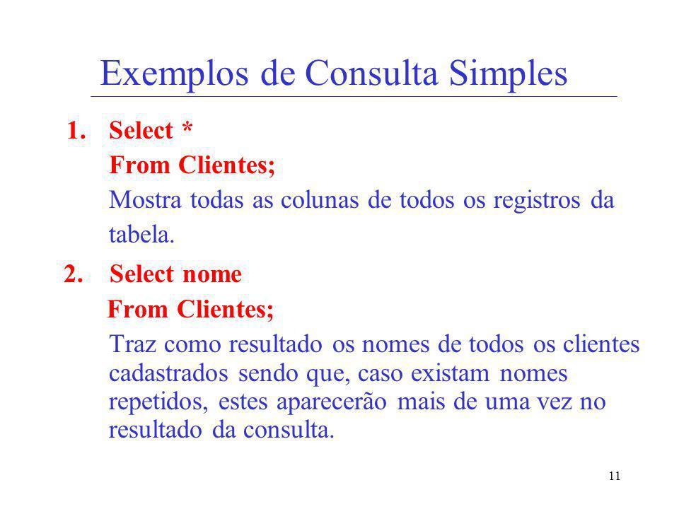 Exemplos de Consulta Simples