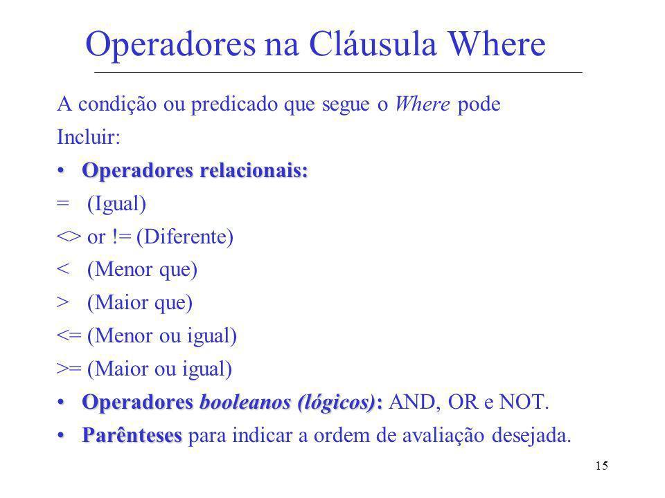 Operadores na Cláusula Where