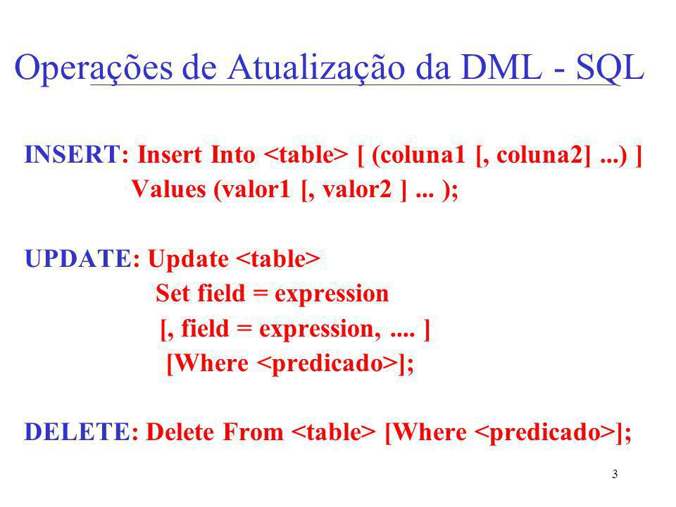Operações de Atualização da DML - SQL