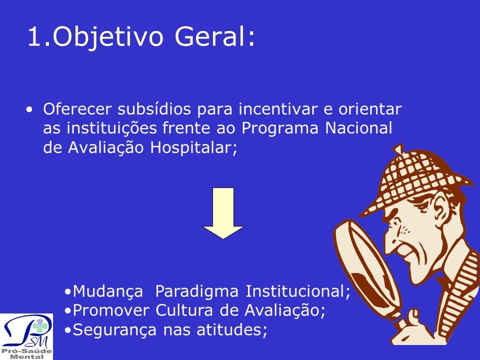 1.Objetivo Geral: Oferecer subsídios para incentivar e orientar as instituições frente ao Programa Nacional de Avaliação Hospitalar;