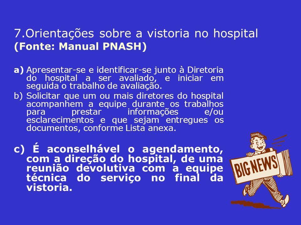 7.Orientações sobre a vistoria no hospital (Fonte: Manual PNASH)